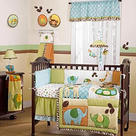 In the Jungle 9 Piece Baby Crib Bedding Set with Bumper by Cocalo