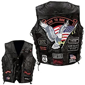 Diamond Plate Leather Vest W/ 14 Patches-5X