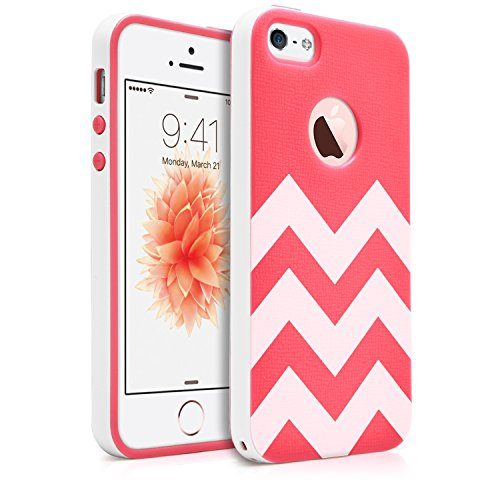 iPhone SE / 5S / 5 Case, MagicMobile Slim Hybrid Case [Cute White Chevron Pattern] Rugged TPU with Bumper Frame Dual Layers - [Rose Red] (Cute Iphone 5s Bumper Cases compare prices)