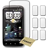 6 Pack Fenzer Clear Screen Protectors for HTC Sensation 4G Cell Phone Transparent LCD Touch Screen Film Guard Cover Shields with Lint Cleaning Cloth
