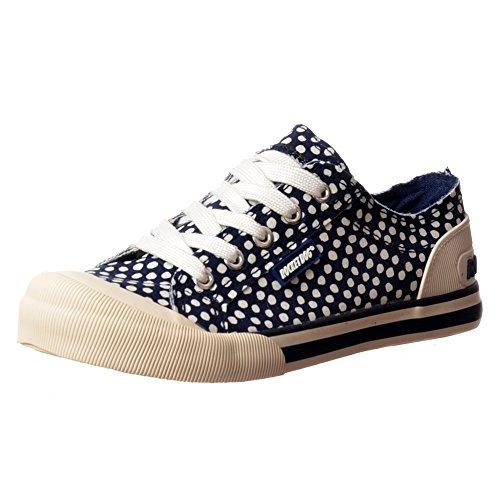 jazzin-tela-piatto-pizzo-rocket-dog-donna-sneakers-scarpe-ponte-uk3-eu36-us5-au4-marina-macchia-me