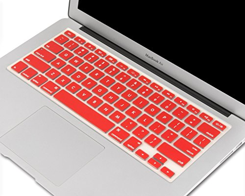 "Heartly Premium Soft Silicone Keyboard Skin Crystal Guard Protector Cover For MacBook 13"" / 13.3"" / 15"" / 17"" inch Hot Red"
