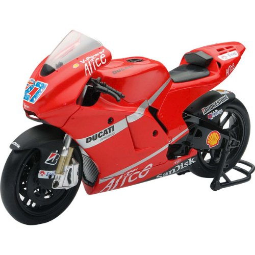 New Ray Ducati 2009 Desmosedici GP9 #27 Casey Stoner Replica Motorcycle Toy w/ Free B&F Heart Sticker Bundle - Red/Race Team Graphics / 1:12 Scale