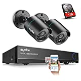 SANNCE 8CH 1080P Lite HD DVR CCTV Security System with 2 x1.0 Megapixel 720P Wired Outdoor Indoor Home Video Security Camera System 66ft Night Vision 1TB Hard Drive Included