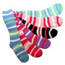 Luxury Divas Long Striped Assorted 6 Pack Thick Fuzzy Socks