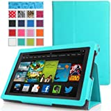 MoKo Amazon Kindle Fire HD 7 2013 Case - Slim Folding Case for Fire HD 7.0 Inch 3rd Generation Tablet, Light BLUE (With Smart Cover Auto Wake / Sleep)