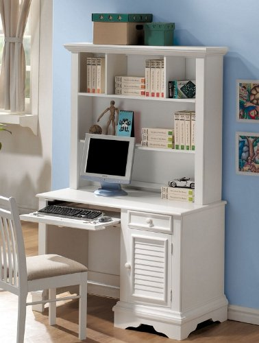 Buy Low Price Comfortable Computer Desk with Hutch Shutter Design in White Finish (B00363RL5K)