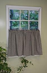Curtain Chic Vintage Plaid Tier, 36-Inch, Black Pepper