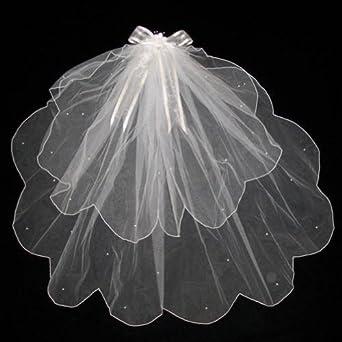 Scalloped Edge Pearl Dot Layered Communion Pageant Flower Girl Veil