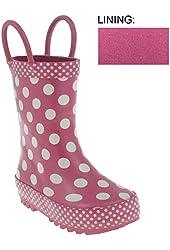 Capelli New York Shiny Large Dots Printed Rubber Rain Boot