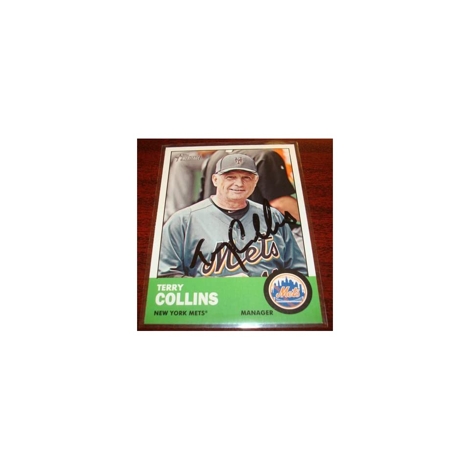 2012 TOPPS HERITAGE #233 TERRY COLLINS METS MANAGER AUTOGRAPH SIGNED CARD