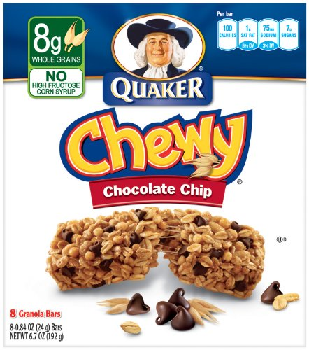 Chocolate chips quaker chewy granola bar chip