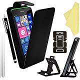 BAAS® Nokia Lumia 630 / 635 Flip PU Leather Case Cover with 2x Screen Protector , Stylus Pen & Desktop Stand