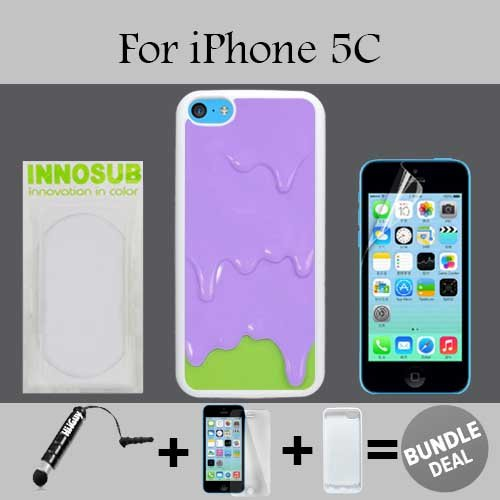 Purple Green Melting ice Cream Custom iPhone 5C Cases-White-Plastic,Bundle 3in1 Comes with Screen Protector/Universal Stylus Pen by innosub (5c Melting Ice Cream Case compare prices)
