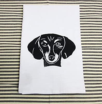 Block Printed Dachshund Face Flour Sack Tea Towel