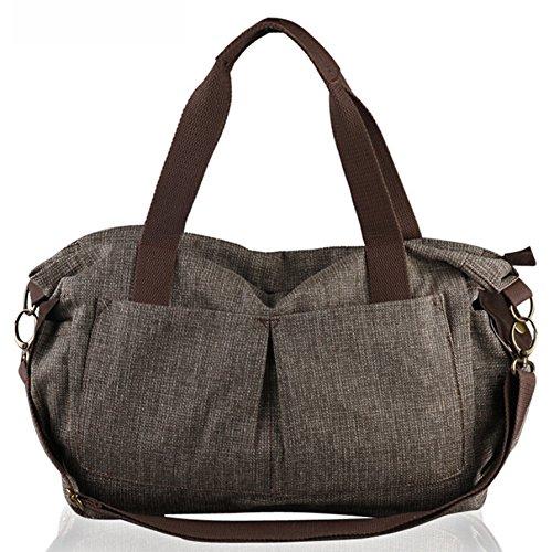 Retro canvas borsa di modo sacchetto di spalla casuale di grande capienza (KR4-caffè)