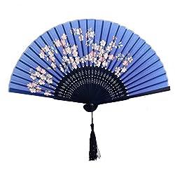 Generic Women Ladies Sakura Flower Pattern Silk Bamboo Hand Fan Japanese Folding Fan