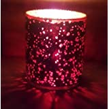 Red Glass Tea Light Votive Candle Holder With Sparkles 2.75x3.5 Inch