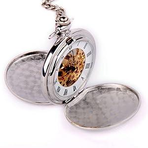 Vantasy MEPW00005 Double Hunter Skeleton Silver Tone Stainless Steel Pocket Watch