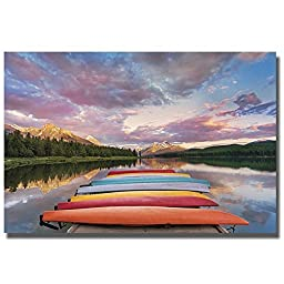 Kayaks by Yaming Hu Premium Gallery-Wrapped Canvas Giclee Art (Ready-to-Hang)