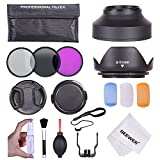 Neewer® 55MM Professional Accessory Kit for Canon EOS 400D/ Xti;450D / Xsi; 1000D/ XS; 500D/T1i;550D/ T2i;600D/T3i; 650D/T4i;700D/T5i;100D;1100D; Nikon Sony Samsung Fujifilm Pentax and Other DSLR Camera Lenses with 55MM Filter Thread - Includes: Filter K