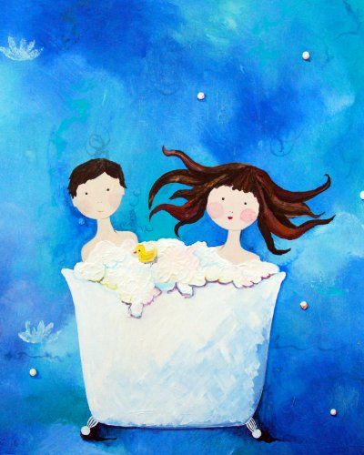 Cici Art Factory Wall Art, Two in a Tub Brunette, Small - 1