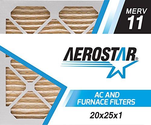 20x25x1 AC and Furnace Air Filter by Aerostar - MERV 11, Box of 6