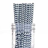 Dress My Cupcake 50-Pack Vintage Paper Straws, Navy Blue Chevron