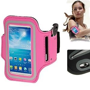 Brassard sport tour de bras rose bonbon pour Samsung Galaxy SIV mini S4 mini / i9190 idéal pour les sportifs, course à pied ou salle de sport avec pochette pour clés