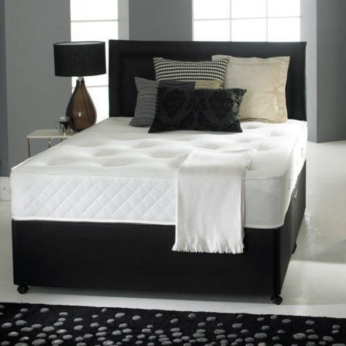 Divan Bed with Memory Foam Mattress, Headboard and 2 Drawers (4ft6 Double)