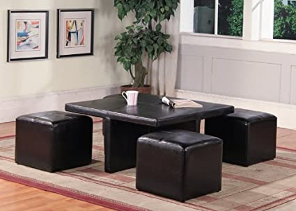 Brown Faux Leather Ottoman Brown Faux Leather Table w/ 4