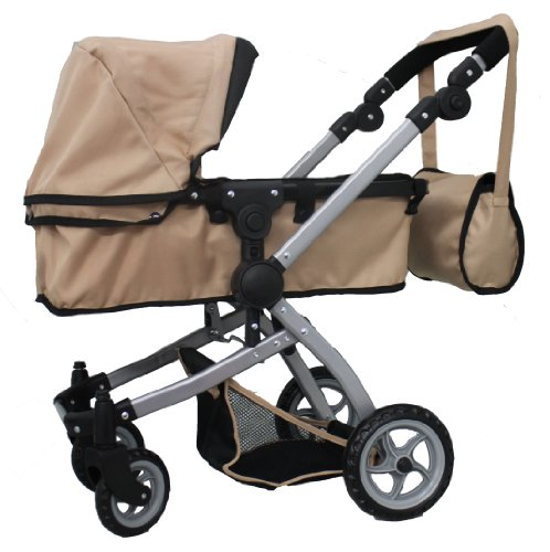 Babyboo Sand Deluxe 2 In 1 Doll Pram/Stroller With Swiveling Wheels Color Sand & Black With Swiveling Wheels & Adjustable Handle And Free Carriage Bag - 9651Bsand front-929160