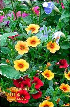 Wochenkalender 2014 Sommerblumen: rechte Seite Kalender, linke Seite
