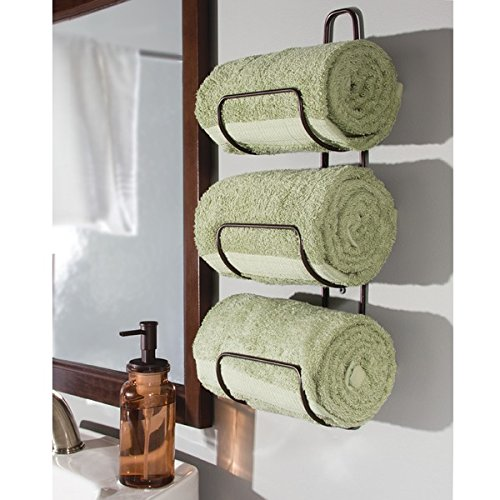 Mdesign Over Door Bath Towel Holder For Bathroom Bronze Home Garden Linens Bedding Towels
