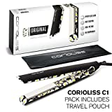"Corioliss C1 Professional Titanium Hair Styling Iron, Limited Edition Black Daisy, 2 Year Warranty, 1"" Titanium Plates, Negative Ion, Anti-Static, Anti-Frizz, Heat Resistant Pouch included"