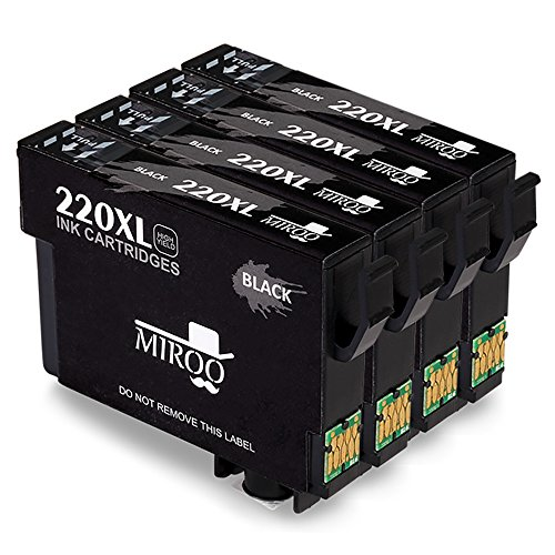 MIROO 4 Black Replacement For Epson 220xl 220 Ink