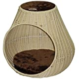 Go Pet Club Rattan Wicker Cat Tree Bed Furniture, 16-Inch