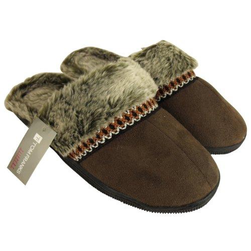 Womens Faux Suede Furry Eskimo Slipper Ladies Mule Slippers Size UK 4