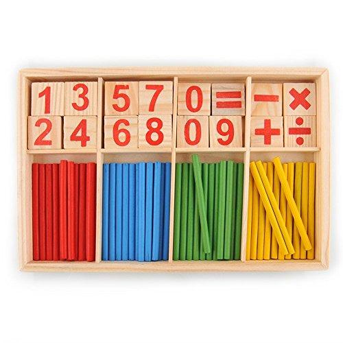 hibote 52 Spindles Cards Nombre en bois et Counting Rods avec Box, Montessori Matériel Sticks Mathématiques Matériel éducatif pour enfants Kid