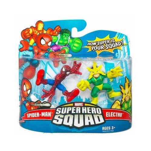 Marvel Super Hero Squad Action Figure 2-Pack - Spider-Man and Electro Action Figures by Hasbro 1001119 TOY (English Manual)