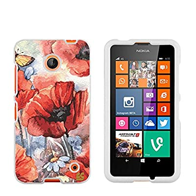 Premium Protection Slim Light Weight 2 piece Snap On Non-Slip Matte Hard Shell Rubber Coated Rubberized Phone Case Cover With Design For Nokia Lumia 635 (Window Phone) - Spring Canvas - White from Beyondcell
