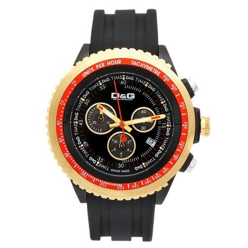 D&G Dolce&Gabbana DW0369 - Reloj cronógrafo de caballero de cuarzo con correa de goma negra (cronómetro) - sumergible a 30 metros