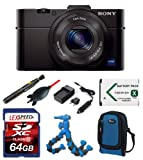 Sony Cyber-Shot DSC-RX100mII DSC-RX100m II DSC-RX100M2/B RX100 II + LoweProCase (Blue) + Battery + Charger + Giotto's Blower + Lens Pen Cleaning System + 64GB Kit