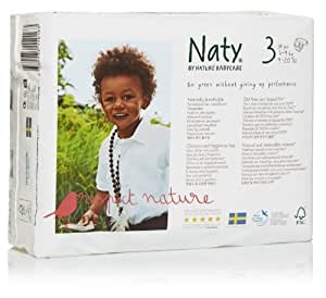 Naty by Nature Babycare Size 3 ECO Nappies - 4 x Packs of 31 (124 Nappies)