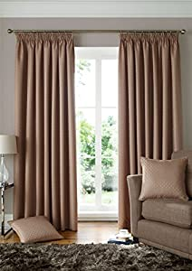 """Woven Jacquard Squares Beige 46x90"""" 117x229cm Lined Pencil Pleat Curtains Drapes from Curtains"""