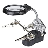 3rd Helping Hand Magnifier Tool 3.5x & 12X with Soldering Iron Stand Adjustable Alligator Clip Clamps LED Magnifying Glass Len Workstation Light Battry Powered
