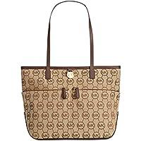 Michael Kors Kampton Medium Pocket Nylon Tote Handbag - Beige Mocha, Camel Tan or Black Signature