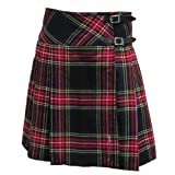 Black Stewart 20 inch Pleated Wrap Around Knee Length Ladies Kilt Skirt 6-28
