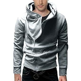 DJT - Sweat-shirt à capuche -  - Uni - Col chemise italien - Manches longues Homme -  Gris - Gris clair - XL