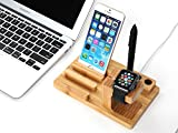 Apple Watch Stand, CoolPlus Multi Device Desktop Bamboo Wood Charging Station Organizer Dock Stand Holder for iPhone iWatch 38mm 42mm Support iPad Mini Tablet Android Stylus Pen, Go Green